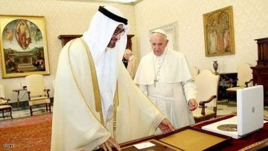 صورة الشيخ محمد بن زايد والبابا فرنسيس بابا الفاتيكان في لقاء سابق