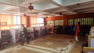 صورة عمليات التعقيم والتطهير لمركز تكنولوجيا المعلومات بجامعة المنيا