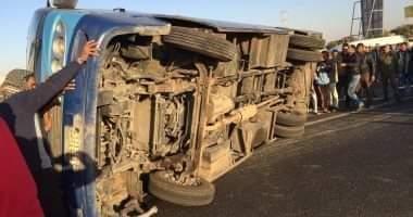 صورة عاجل | حالات وفاة وإصابة 25 فى انقلاب أتوبيس على الطريق الصحراوى بالمنيا