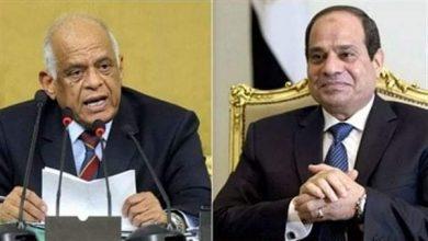 """صورة عبد العال"""" يهنئ """"الرئيس السيسي"""" بذكرى تحرير سيناء"""
