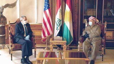 صورة مسعود بارزاني و السفير الأمريكي يناقشان الأوضاع الراهنة بالعراق