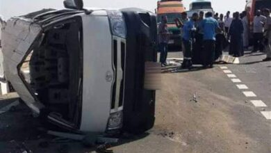 صورة مصرع أربعة أشخاص في حادث إنقلاب سيارة على الطريق الدائري
