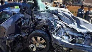 صورة وفاة شخص وأصابه اخر في حادث تصادم بشع بالطريق الدائري بمدينه سمالوط بالمنيا