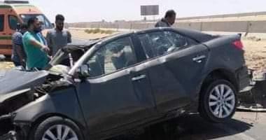 صورة مصرع شخص وإصابة 4 إثر انقلاب سيارة بالسويس