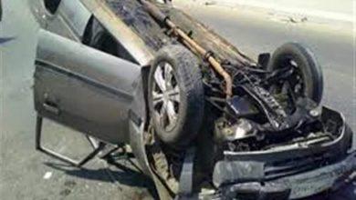 صورة مصرع شخص وزوجته في حادث تصادم سيارة ملاكي بالعياط