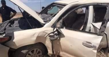 صورة مصرع 2 وإصابة 7 أشخاص فى تصادم سيارتين بقنا