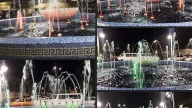 صورة انتهاء الأعمال بنافورة محيط قصر الثقافة وشارع النصر في بورسعيد