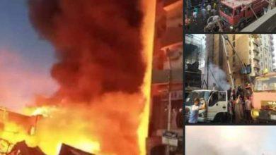 """صورة حريق ضخم يلتهم معارض دائمة بشارع بور سعيد بطهطا وشهود العيان """" الإطفاء تأخر"""""""