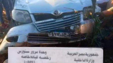 صورة مصرع شخص في إنقلاب سيارة ملاكي بطريق هوارة عدلان بالفيوم