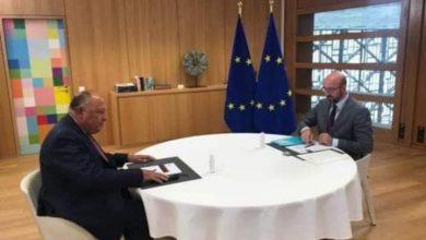 صورة وزير الخارجية سامح شكري يلتقي برئيس المجلس الأوروبي شارل ميشيل