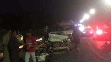 صورة حادث مروع بطريق الأربعين بنجع حمادي ينتج عنه 3 متوفين و 6 مصابين