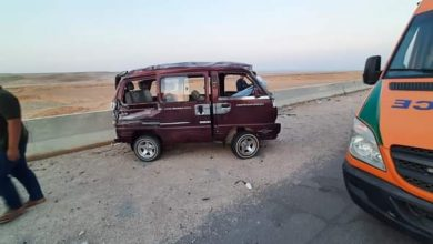 صورة إصابة 9 أشخاص في حادث انقلاب سيارة بطريق مصر السويس