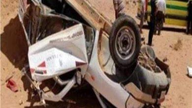 صورة معاينة موقع حادث إنقلاب سيارة ربع نقل بالطريق الغربي