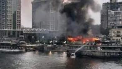 صورة حريق عائمة نيلية بالجيزة