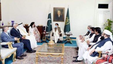 صورة رئيس وزراء باكستان والبرلمان العربي يبحثان القضية الفلسطينية والأمن الاقتصادي