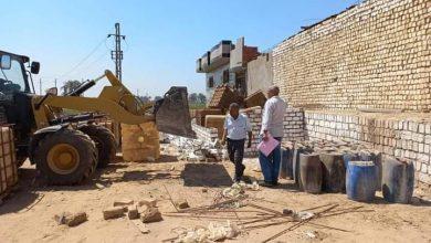 صورة تحرير 55 مخالفة لاشغالات وإزالة 5 حالات تعد بالبناء بمركزي المنيا وبني مزار