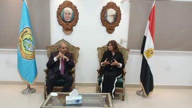 صورة وزيرة الهجرة تصل إلى جامعة الأزهر للحديث حول الهجرة غير الشرعية
