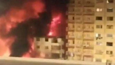 صورة حدوث حريق في عقار الدقي