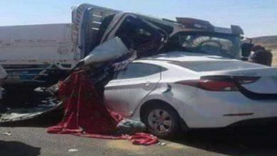 صورة إصابة 7 أشخاص في حادث مروع بالطريق الصحراوي الغربي